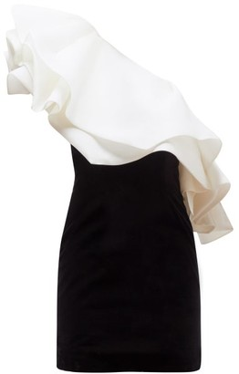Alexandre Vauthier One-shoulder Organza-ruffle Velvet Mini Dress - Black White
