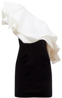 Alexandre Vauthier One Shouldered Organza Ruffle Velvet Mini Dress - Womens - Black White