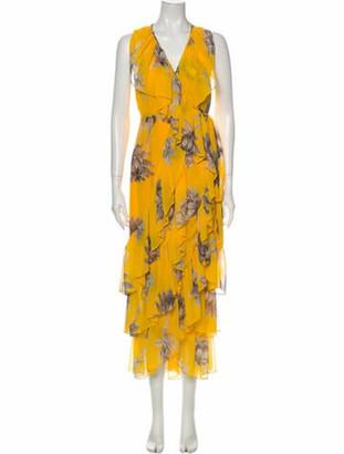 MISA Floral Print Long Dress Yellow Floral Print Long Dress