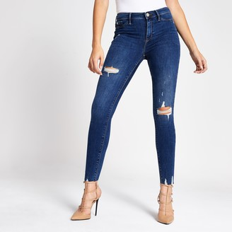 River Island Womens Dark Blue Molly ripped mid rise jeggings