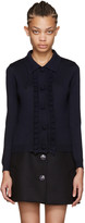 Miu Miu Navy Ruffled Knit Cardigan