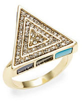 House Of Harlow Pave Turquoise Triangle Cocktail Ring
