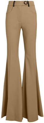 Sara Battaglia Flared Virgin Wool Trousers