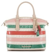 Brahmin Stripe Duxbury Leather Satchel - Beige