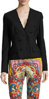 Dolce & Gabbana Women's Distressed Trim Double Breasted Blazer