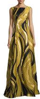 Alberta Ferretti Metallic Brushstroke Jacquard Gown, Gold