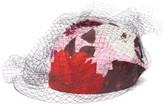 Erdem X Noel Stewart Net-trimmed Floral-print Hat - Womens - Pink Red