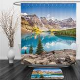 Vipsung Shower Curtain And Ground MatLake House Still Calm Lake and Mountain Landscape with Rock and Bright Sky Dream Life Print Blue GreenShower Curtain Set with Bath Mats Rugs