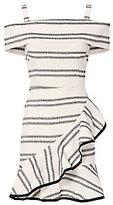 Rebecca Vallance Cut Out Back Striped Ruffle Dress