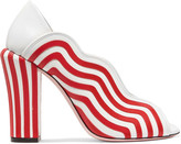 Fendi Striped Leather Pumps - Red