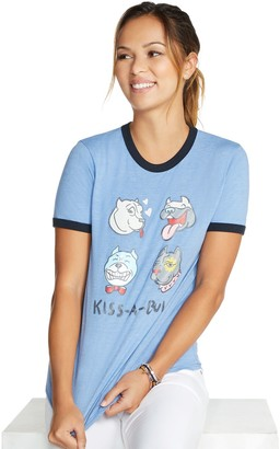 "Skechers Women's BOBS for Dogs ""Kiss-A-Bull"" Ringer Graphic Tee"