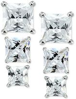 Giani Bernini 3-Pc. Set Cubic Zirconia Square Stud Earrings in Sterling Silver, Created for Macy's