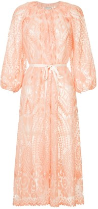 Huishan Zhang Geometric Pattern Midi Dress