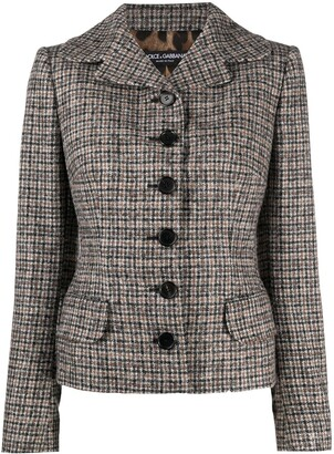 Dolce & Gabbana Check Fitted Jacket