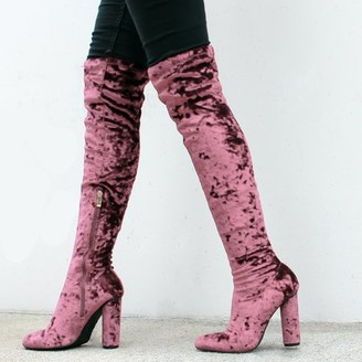 Fahrenheit Over the Knee Women's High Heel Boots in Pink