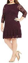 Calvin Klein Plus Round Neck 3/4 Sleeve Scallop Lace Dress