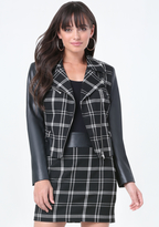 Bebe Plaid Moto Jacket