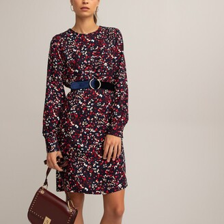 La Redoute Collections Leopard Print Shift Dress with Long Sleeves
