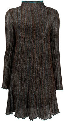 M Missoni High-Neck Pleated Stripe Dress