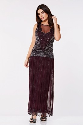 Gatsbylady London Elaina Drop Waist Flapper Maxi Dress in Plum