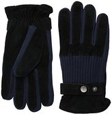 Original Penguin Men's Ribbed Knit and Suede Leather Gloves