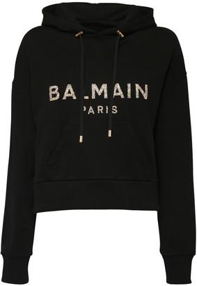 Balmain Logo Crop Cotton Sweatshirt Hoodie