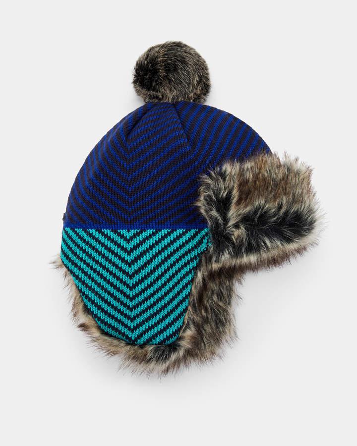 e212f3ff3 FILIAN Striped faux fur lined trapper hat