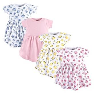 Luvable Friends Toddler Girl Short Sleeve Dresses, 4 pack