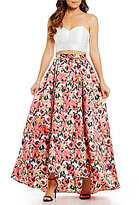 B. Darlin Strapless Lace-Up Back Top To Floral-Print High-Low Skirt Two-Piece Long Dress