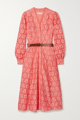 MICHAEL Michael Kors Belted Cotton-blend Corded Lace Midi Shirt Dress - Peach