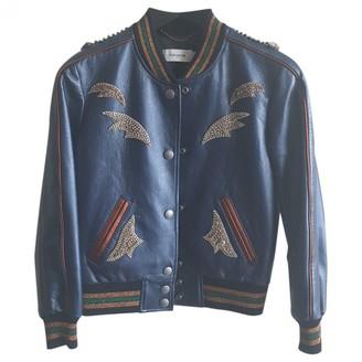 Coach Blue Leather Jackets