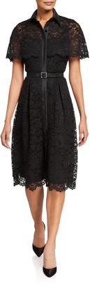 Rickie Freeman For Teri Jon Short-Sleeve Capelet Lace Belted Shirtdress