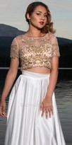Dave and Johnny Applique Embellished Two Piece Short Sleeve Prom Dress