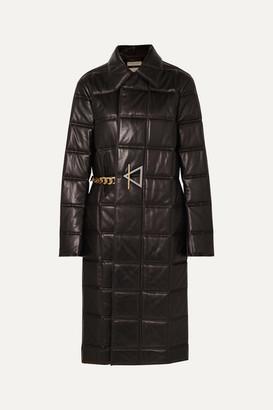 Bottega Veneta Chain-embellished Quilted Leather Coat - Black