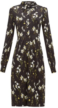 Erdem Tullio Daffodil-print Jersey Shirt Dress - Womens - Black Print