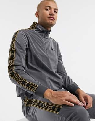 SikSilk crushed nylon zip through jacket in gray with logo taping