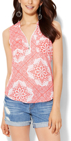 New York & Co. Paper White & Pink Tapestry Hi-Low Tank