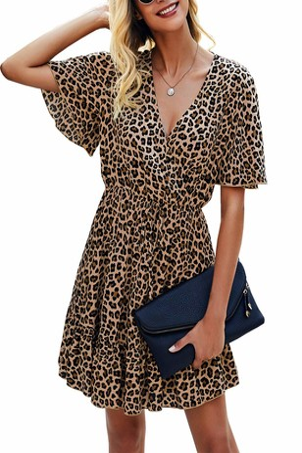 Kirundo 2021 Womens Summer Short Sleeve Ruffle Floral Dress Sexy V Neck High Waist Layer Short Mini Dress with Belt (Large