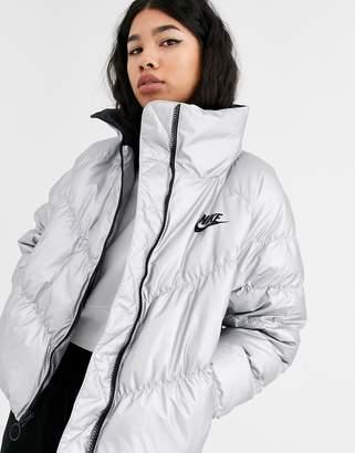 Nike silver high neck padded jacket