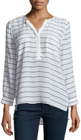 Joie Long-Sleeve Striped Top, Porcelain/Dark Navy