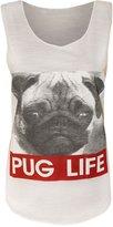 Purple Hanger PurpleHanger Women's Dog Face Pug Life Print Scoop Neck Vest Tee Top 8-10