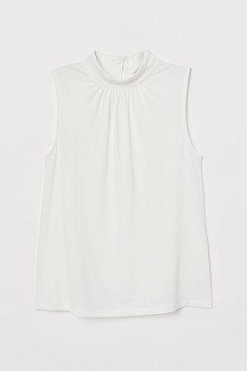 H&M Stand-up Collar Jersey Top - White