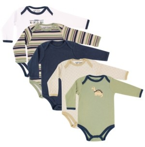Luvable Friends Long-Sleeve Bodysuits, 5-Pack, 0-24 Months