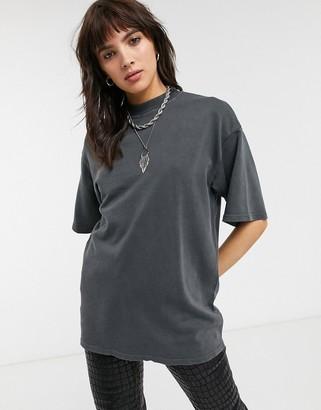 Bershka crew neck t shirt in washed grey
