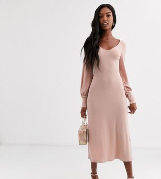 Asos Tall DESIGN Tall long sleeve swing rib bow back midi dress-Pink