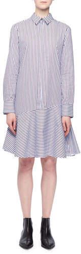 Victoria Beckham Victoria Long-Sleeve A-Line Striped Cotton Shirtdress