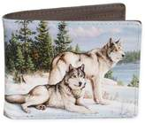 buxton Buxton® Wildlife Watchful Pause Wolves Slimfold Wallet in Grey