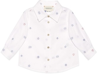 Gucci Baby symbols cotton file coupe shirt