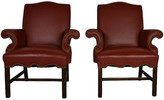 One Kings Lane Vintage Leather Armchairs - Set of 2 - frame, brown; upholstery, red