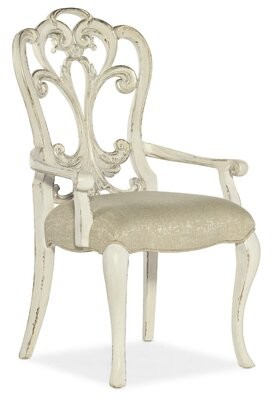 Hooker Furniture Sanctuary 2 Queen Anne Back Arm Chair in Cream (Set of 2